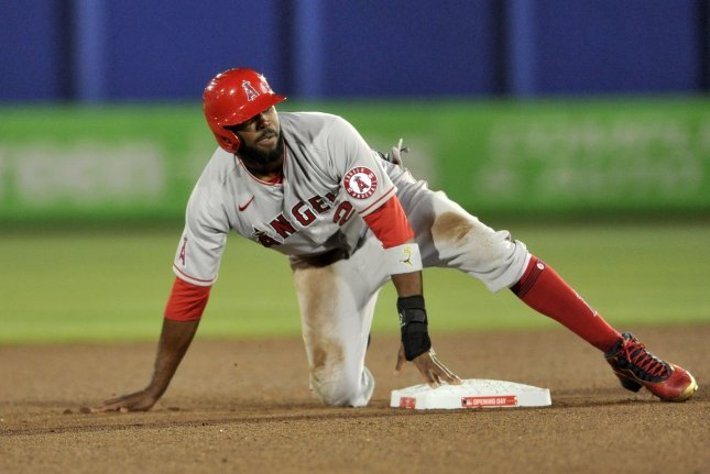 Los Angeles Angels outfielder Dexter Fowler, shown April 8, suffered the ACL injury during Friday's game against the Toronto Blue Jays. Photo by Steven J. Nesius/UPI