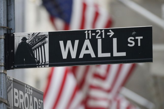 A sign for Wall Street is seen Monday outside the New York Stock Exchange in New York City. Photo by John Angelillo/UPI