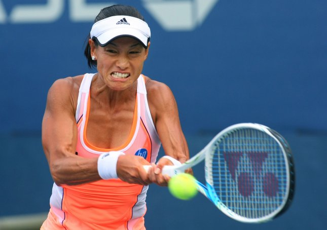 Kimiko Date-Krumm, shown at this year's U.S. Open, had an upset wins Tuesday that put her into the second round of the WTA's HP Japan Women's Open Tennis tournament in Osaka. UPI Photo/Monika Graff