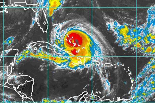 This NOAA satellite image taken on October 1, 2015 shows Hurricane Joaquin as it travels over the Bahamas towards the United States. Joaquin was a Category 4 storm with maximum sustained winds of 130 mph, according to the National Hurricane Center. Photo by NOAA/UPI