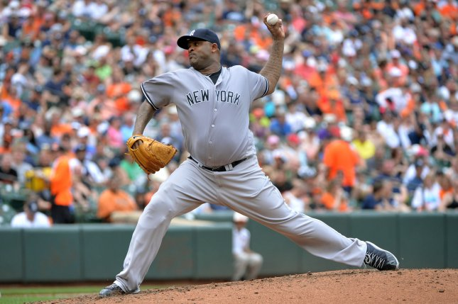 New York Yankees starting pitcher CC Sabathia (52) delivers a pitch. File photo by Kevin Dietsch/UPI