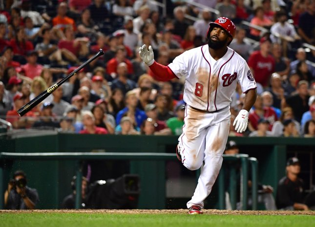 Brian Goodwin and the Washington Nationals fought past the Miami Marlins on Thursday. Photo by Kevin Dietsch/UPI