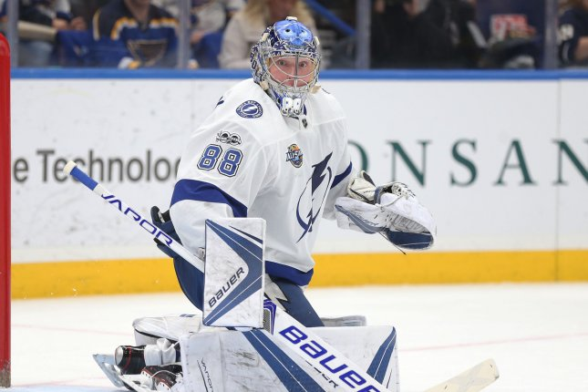 Tampa Bay Lightning goatender Andrei Vasilevskiy keeps an eye on the puck during the first period against the St. Louis Blues on December 12, 2017 at the Scottrade Center in St. Louis. Photo by Bill Greenblatt/UPI