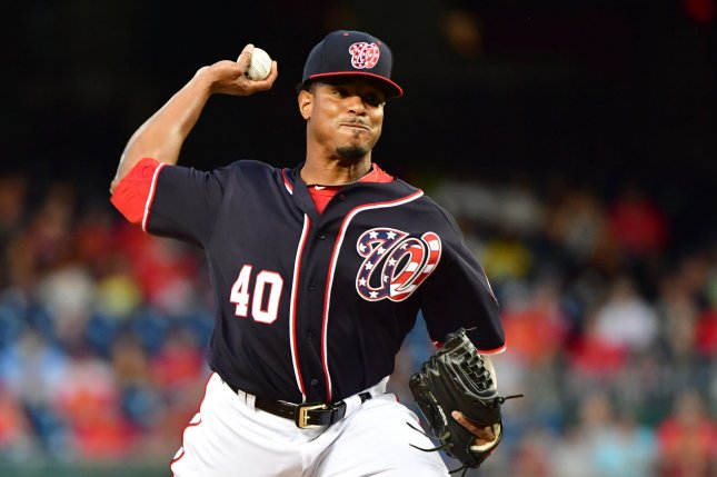 Former Washington Nationals and current Oakland A's starting pitcher Edwin Jackson (40) pitches against the Los Angeles Dodgers in the first inning on September 15, 2017 at Nationals Park in Washington, D.C. Photo by Kevin Dietsch/UPI