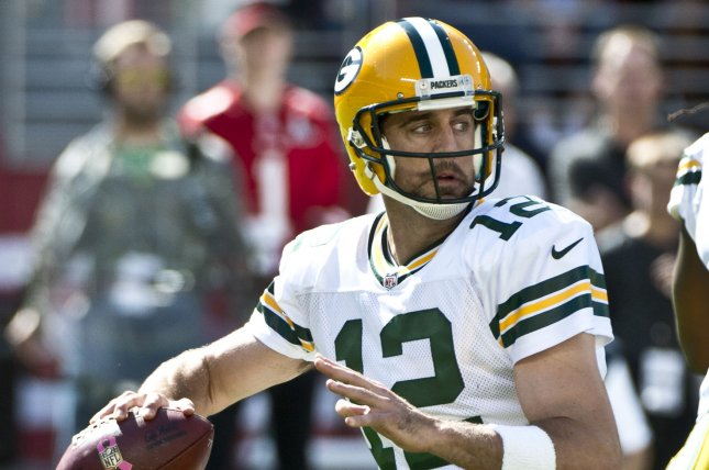 Green Bay Packers quarterback Aaron Rodgers (12) drops back to pass in the second quarter against the San Francisco 49ers on October 4, 2015 at Levi's Stadium in Santa Clara, California. File photo by Terry Schmitt/UPI
