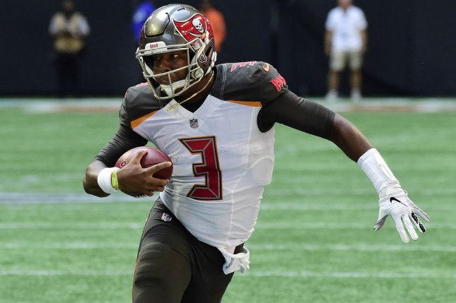 Tampa Bay Buccaneers quarterback Jameis Winston takes off running during a game against the Atlanta Falcons Mercedes-Benz Stadium on October 14, 2018. Photo by David Tulis/UPI