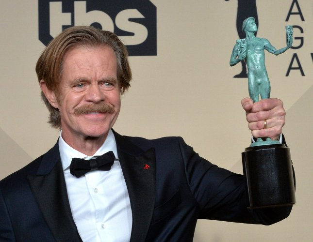 William H. Macy appears backstage with the award for Outstanding Performance by a Male Actor in a Comedy Series for Shameless during the the 24th annual SAG Awards held at the Shrine Auditorium in Los Angeles on January 21, 2018. Shameless was renewed for a 10th season on Thursday. Photo by Jim Ruymen/UPI