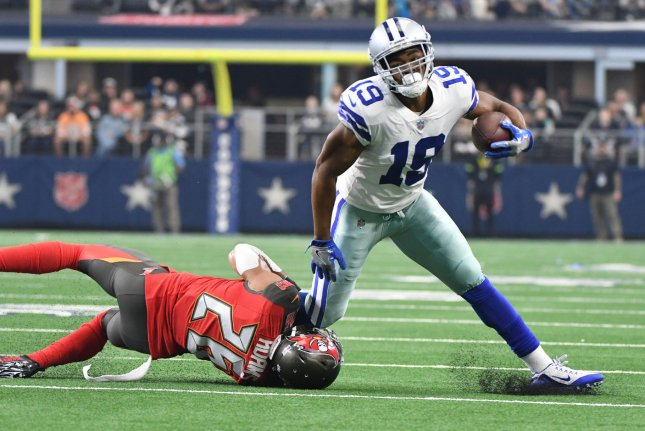 Dallas Cowboys wide receiver Amari Cooper (R) hasn't been ruled out for the preseason. File Photo by Ian Halperin/UPI