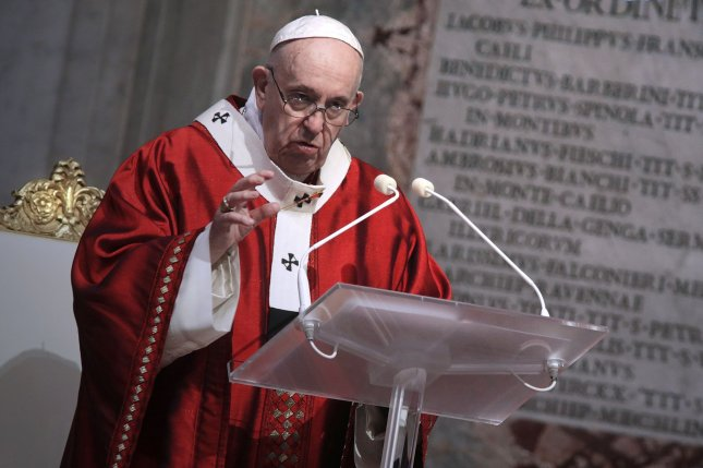 The pope said COVID-19 is a disease that's exposed the broadest social ills that have distorted views and ignored dignity. File Photo by Siciliani/Spaziani/UPI