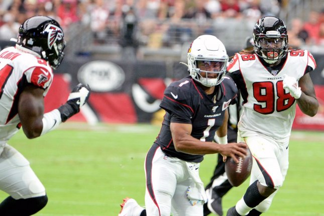 Former Atlanta Falcons defensive end Takkarist McKinley (98) has 17.5 career sacks in 49 games since entering the league in 2017. File Photo by Art Foxall/UPI