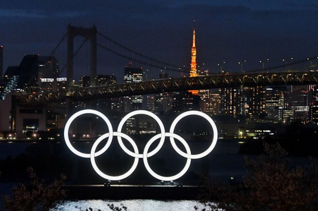 The Olympic rings are seen at Odaiba Marine Park in Tokyo, Japan, on March 27, 2020. Olympic President Thomas Bach said Thursday he's confident in the safety of the Summer Games, which are scheduled to begin on July 23. File Photo by Keizo Mori/UPI