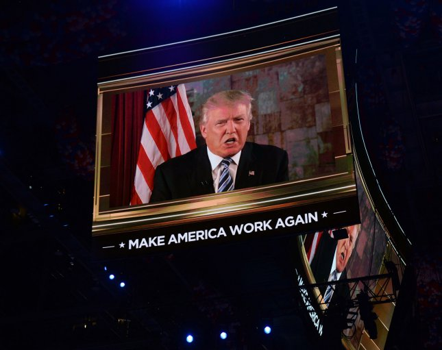 Candidate Donald Trump makes a remote address to the convention after being declared the nominee on day two at the Republican National Convention at Quicken Loans Arena in Cleveland, Ohio on Tuesday. Donald Trump will formally accept the Republican Party's nomination for President on Thursday night July 21. Photo by Pat Benic/UPI