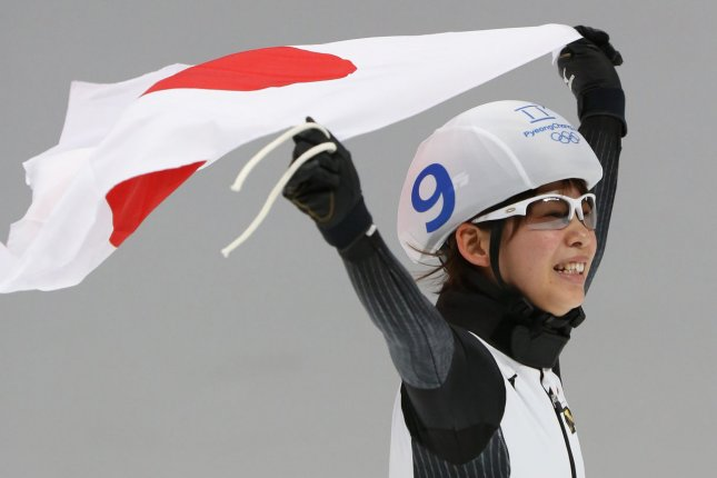 Nana Takagi Of Japan Celebrates After Winning The Gold Medal Of The Womenu0027s  Mass Start Speed Skating With A Time Of 8:32.87 Minutes Saturday At The ...