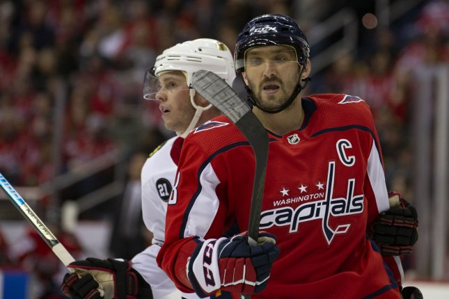 Washington Capitals left wing Alex Ovechkin (8) now has 85 hits on the season after registering seven hits in a loss to the Vegas Golden Knights on Tuesday in Las Vegas. Photo by Alex Edelman/UPI