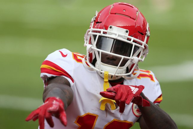 Kansas City Chiefs wide receiver Tyreek Hill is playing on the final year of his rookie contract. File Photo by Aaron Josefczyk/UPI