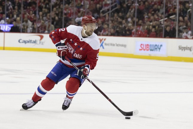 Washington Capitals center Evgeny Kuznetsov received a four-year suspension from international play after testing positive for cocaine. File Photo by Alex Edelman/UPI