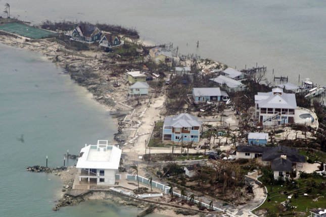 An aerial view Tuesday shows damaged and destroyed houses in the Bahamas after Hurricane Dorian departed. Photo by PO2 Adam Stanton/U.S. Coast Guard/UPI