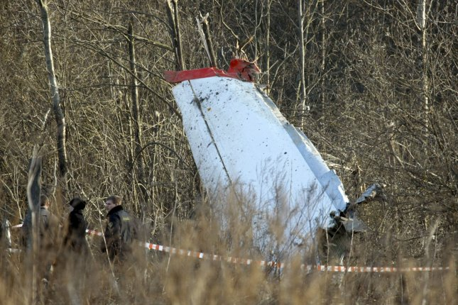 Wreckage of the plane crash site that killed Polish President Lech Kaczynski is seen near Smolensk, in western Russia, on April 10, 2010. File Photo by Alex Natin/UPI