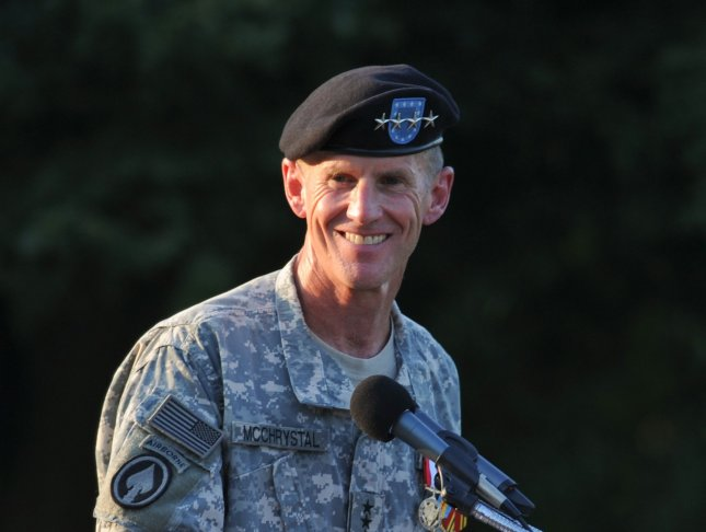 Army Gen. Stanley McChrystal speaks at his retirement ceremony at Fort McNair in Washington on July 23, 2010. UPI/Alexis C. Glenn