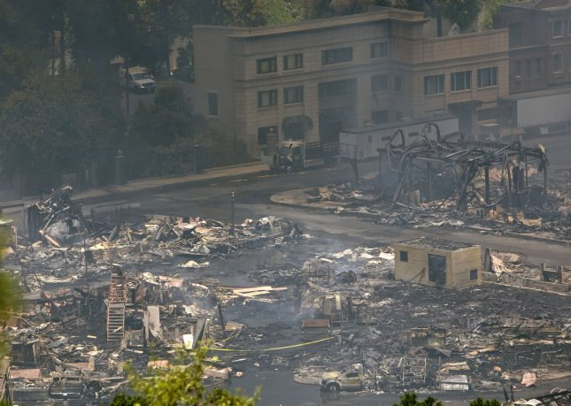 This is the remains of a fire that destroyed parts of the Universal Studios backlot in Universal City, California on June 1, 2008. The buildings in the background were once part of the set from Back to the Future. Half of the buildings were burned in the fire. (UPI Photo / Forest Casey)