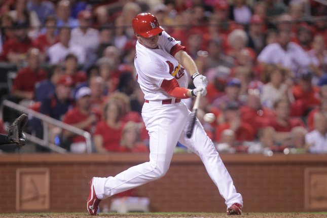 St. Louis Cardinals Stephen Piscotty connects for a RBI triple and the go-ahead run in the eighth inning against the Cincinnati Reds at Busch Stadium in St. Louis on September 21, 2015. St. Louis won the game 2-1. Photo by Bill Greenblatt/UPI