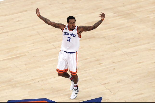 New York Knicks' Brandon Jennings reacts after making a basket in the 4th quarter against the Charlotte Hornets at Madison Square Garden in New York City on January 27, 2017. The Knicks defeated the Hornets 110-107. Photo by John Angelillo/UPI