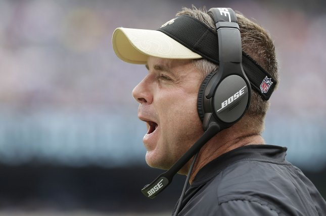 New Orleans Saints head coach Sean Payton stands on the sideline in the second half against the New York Giants in week 2 of the NFL at MetLife Stadium in East Rutherford, New Jersey on September 18, 2016. The Giants defeated the Saints 16-13. Photo by John Angelillo/UPI