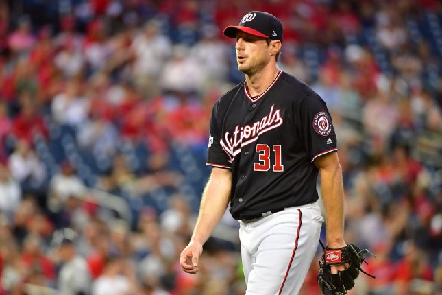 Washington Nationals starting pitcher Max Scherzer (31) walks off the mound after pitching against the Tampa Bay Rays in the fifth inning on June 5 at Nationals Park in Washington, D.C. Photo by Kevin Dietsch/UPI