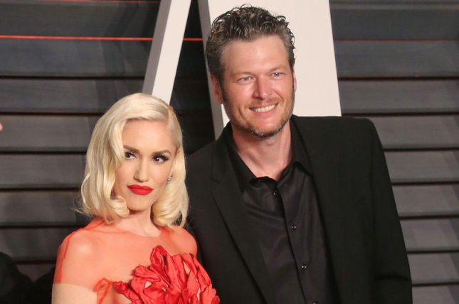 Gwen Stefani (L), pictured with Blake Shelton, dedicated a sweet post to the country star on his birthday. File Photo by David Silpa/UPI