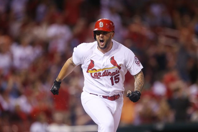 St. Louis Cardinals pinch hitter Matt Adams yells as he hits a two RBI double against the San Francisco Giants in the eighth inning on Friday at Busch Stadium in St. Louis. Photo by Bill Greenblatt/UPI