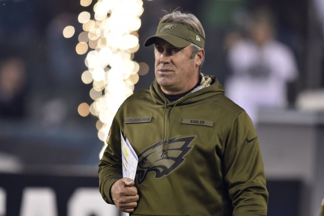 Philadelphia Eagles head coach Doug Pederson walks onto the field during a game against the Dallas Cowboys on November 11, 2018 at Lincoln Financial Field in Philadelphia. Photo by Derik Hamilton/UPI