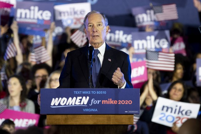 Democratic presidential candidate Mike Bloomberg speaks at a campaign rally on February 29 in McLean, Va. Photo by Kevin Dietsch/UPI