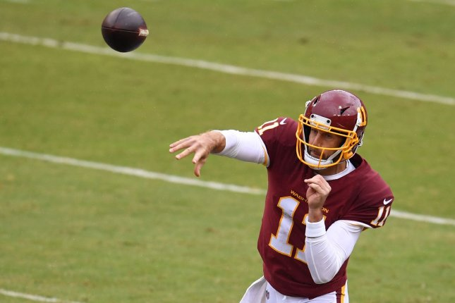 Washington Football Team quarterback Alex Smith threw for 296 yards and a score in a win over the Pittsburgh Steelers on Monday in Pittsburgh. File Photo by Kevin Dietsch/UPI