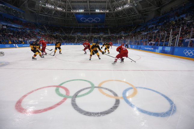 A team of neutral athletes from Russia play Germany in the men's hockeygold medal game during the 2018 Pyeongchang Winter Olympics,at the Gangneung Hockey Centre In Gangneung, South Korea, on February 25, 2018. File Photo by Andrew Wong/UPI