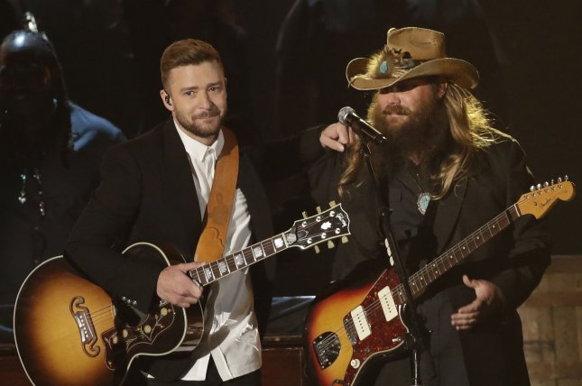 Justin Timberlake (L) performs with Chris Stapleton at the Country Music Association Awards on November 4, 2015. The singer danced The Carlton with Alfonso Ribeiro on Saturday. File Photo by John Angelillo/UPI