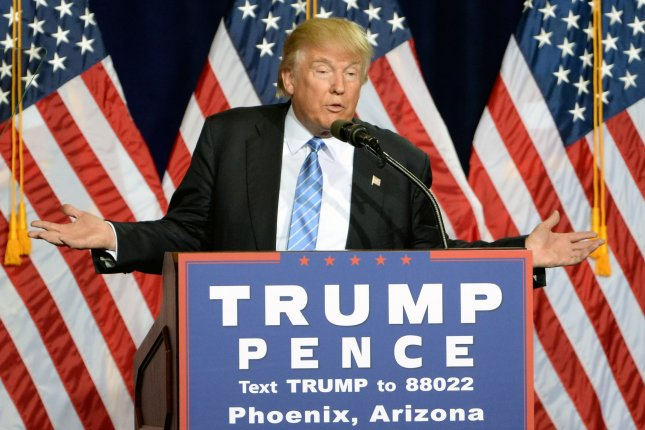 Donald Trump speaks in Arizona on Aug. 31. Democrats in Minnesota are suing to have Trump's name removed from the ballot after the state Republican Party failed to follow election law in selecting its alternate delegates to the electoral college. Photo by Art Foxall/UPI