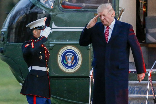 President Donald Trump, seen disembarking from Marine One on the South Lawn of the White House on his return from Mar-a-Lago in Palm Beach, Fla., on March 5, has spent 17 days of his 67 days in office at Mar-a-Lago and traveling between Washington, D.C. and Mar-a-Lago. The Government Accountability Office has agreed to review the costs of Trump's travel following a request by leading congressional Democrats. Pool photo by Erik S. Lesser/UPI