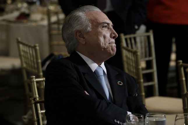 Brazilian President Michel Temer attends a luncheon for world leaders at the United Nations last year. Temer was accused Friday of accepting millions in bribes from the leader of a meat packing company and faces calls for his resignation. Pool photo by Peter Foley/UPI