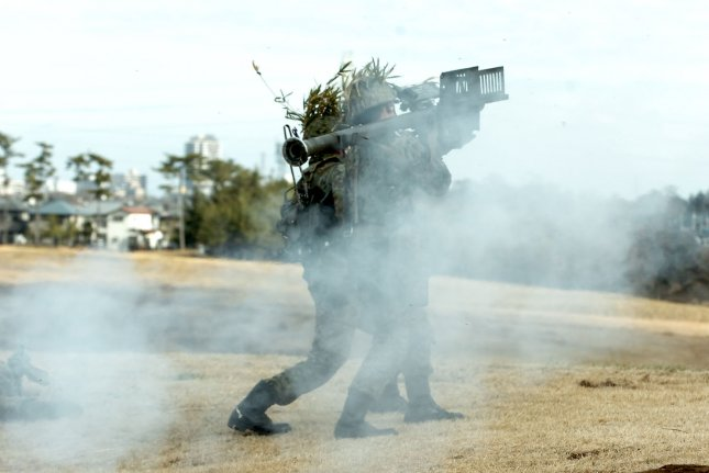 Members of Japan's Ground Self-Defense Force launch a Stinger missile during a drill in Jan. 2008. Latvia has ordered Stinger missiles from Denmark. File Photo by Keizo Mori/UPI