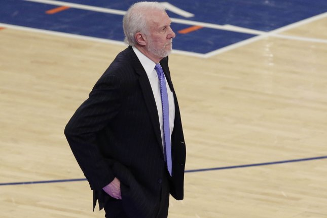 San Antonio Spurs head coach Gregg Popovich stands near the bench in the second half against the New York Knicks on January 2 at Madison Square Garden in New York City. Photo by John Angelillo/UPI