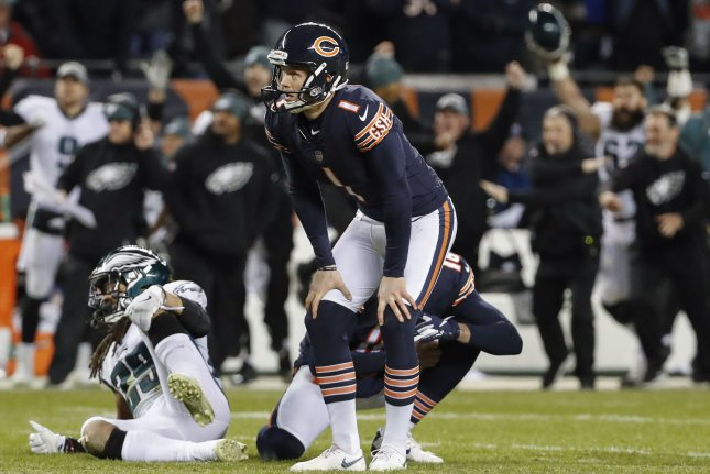 Chicago Bears kicker Cody Parkey (1) reacts after his potential game-winning field goal was blocked by the Philadelphia Eagles during the final seconds of the game allowing the Eagles to upset the Bears 16-15 in an NFC Wild Card playoff game on January 6 at Soldier Field in Chicago. Photo by Kamil Krzaczynski/UPI