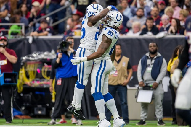 Indianapolis Colts running back Marlon Mack (L) had 132 yards on 29 carries in a win over the Kansas City Chiefs Sunday in Kansas City, Mo. File Photo by Trask Smith/UPI