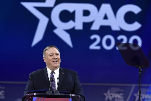 Secretary of State Mike Pompeo makes remarks at the Conservative Political Action Conference on Friday. Photo by Mike Theiler/UPI