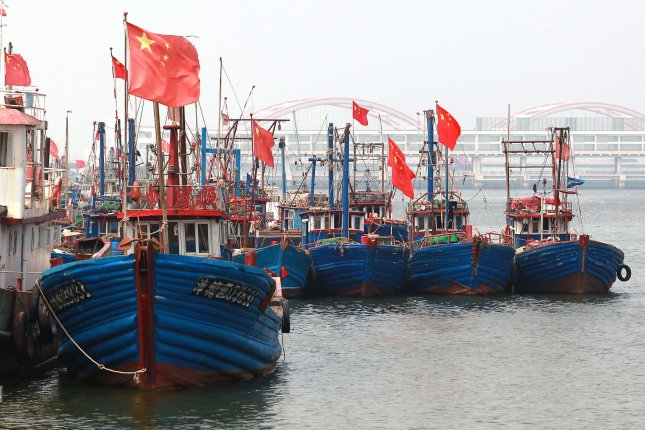 Chinese fishing boats are moored at a coastal port in Binhai, an important shipping and fishing port near Tianjin. File Photo by Stephen Shaver/UPI