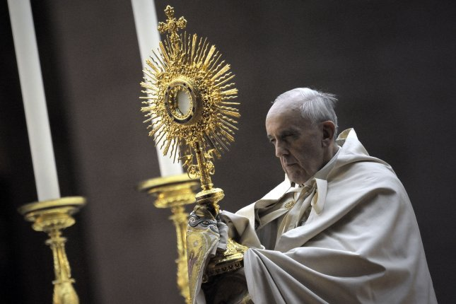 Pope Francis prays in Saint Peter Square at the Vatican on September 7, 2013. UPI/Stefano Spaziani