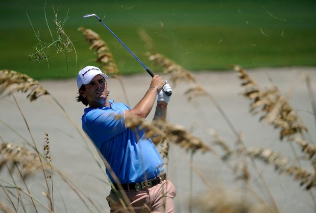 Thomas Aiken, shown in a 2012 tournament, defeated Oliver Fisher on the first playoff hole Sunday and won the European Tour's Africa Open. UPI/David Tulis