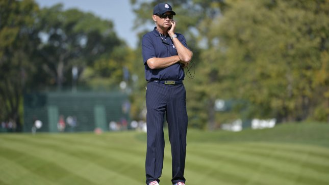 United States Ryder Cup team captain Davis Love III watches his team practice at the 39th Ryder Cup at Medinah Country Club on Tuesday, September 25, 2012 in Medinah, Illinois. Ryder Cup tournament play begins Friday. UPI/Brian Kersey