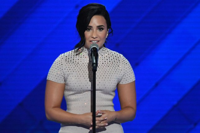 Singer Demi Lovato speaks on Day 1 of the Democratic National Convention at the Wells Fargo Center in Philadelphia on July 25. Lovato has shared a new blonde hairstyle on social media. File Photo by Pat Benic/UPI