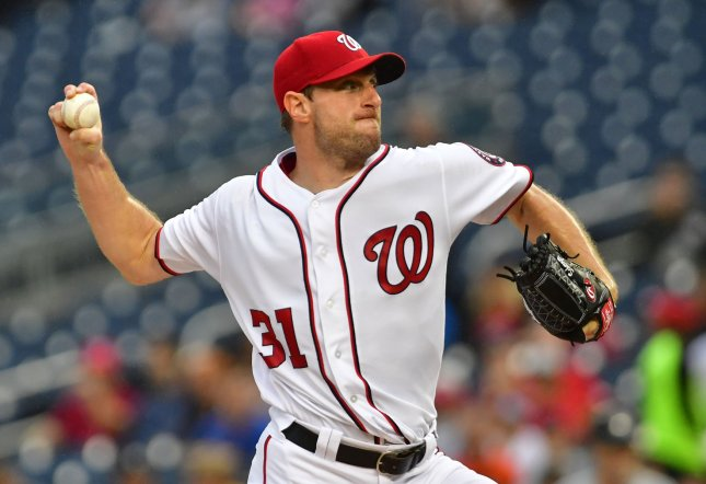 Max Scherzer and the Washington Nationals face the Miami Marlins on Friday. by Kevin Dietsch/UPI