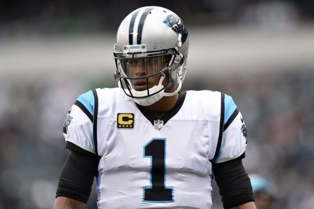 Carolina Panthers quarterback Cam Newton looks on from the sidelines during a game against the Philadelphia Eagles at Lincoln Financial Field on Oct. 21, 2018. Photo by Derik Hamilton/UPI